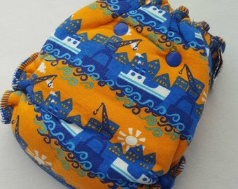 CLOTH DIAPER One Size (11-35#) Bamboo/Bamboo Velour Fitted,Boat Diaper,Ocean,Fishing Boat,Baby,Gift,Shower,Boy Diaper,One Size Fitted,Nappy