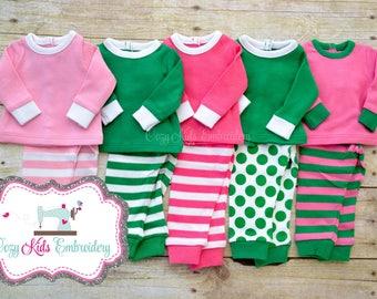Saint Patrick's Day doll pajamas personalized monogram name pjs St Patty Lucky Irish