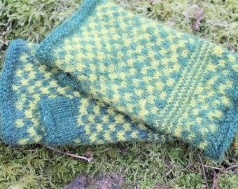 Mittens forest green yellow fingerless mittens arm warmers wool felted hand warmers gloves GIFT FOR HER