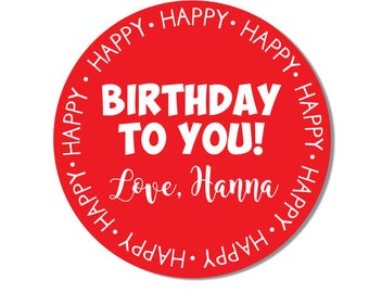 Birthday Stickers, Personalized Birthday Gift Labels, Happy Birthday Present Stickers, Girl or Boy