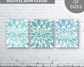 Flower Wall Art- Blue Aqua Dahlia Flower Print-Set of Three (3)-Instant Download. Home Petals Bloom Wall Art. Abstract Art. Burst. Aqua