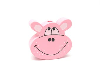 Head of Hippo pink wooden bead