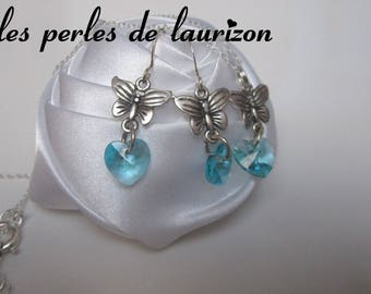 set of Blue Crystal Butterfly