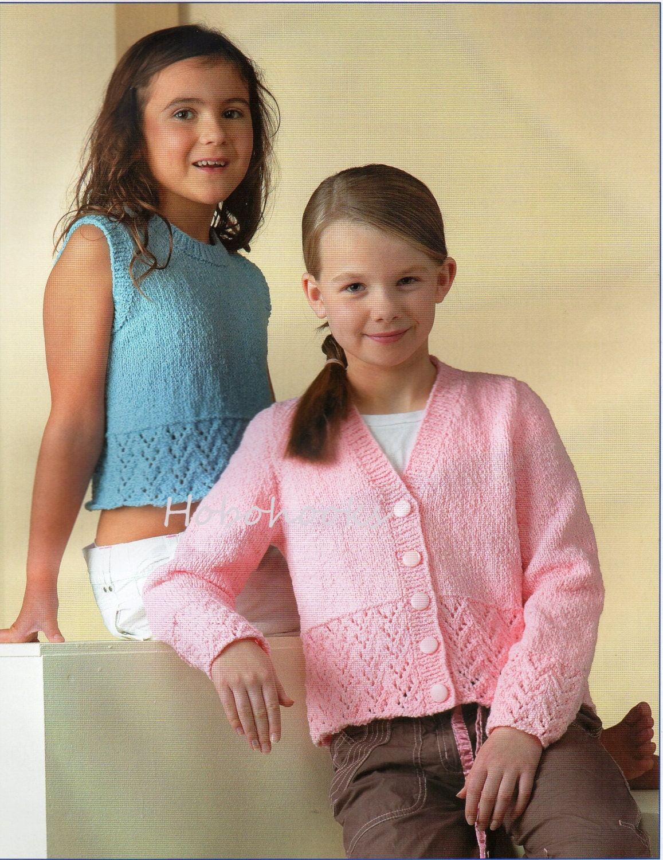 Girls Knitting Pattern Girls Cardigan Lacy Border Girls Top Girls ...
