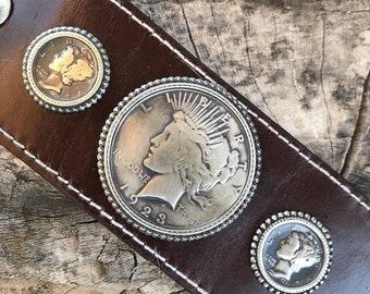 Native Bohemian Wide Leather Bracelet w/ Peace Dollar & Mercury Dimes
