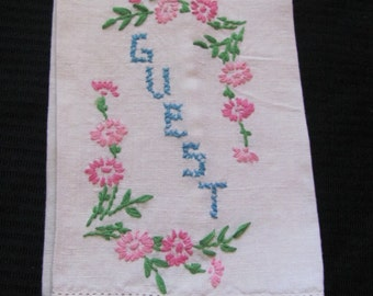 Towel Vintage Embroidered Ivory Cotton Linen Kitchen Hand Towel