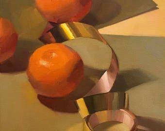 "Art painting still life ""Tangerine Tumble"" 9x12"" original oil on canvas by Sarah Sedwick"