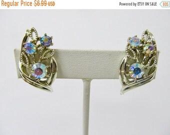 On Sale CORO Vintage Iridescent Rhinestone Earrings Item K # 2577