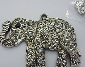 elephant antique silver with Crystal, charm or pendant 43 mm x 51 mm