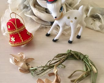 Vintage Flocked Ornaments - Bell - Reindeer - 1960's