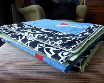 Contemporary patchwork quilt by RegressToProgress. Hand stitched. 100% cotton.