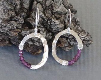 Garnet Earrings, Small Silver Oval Earrings, Organic Oval