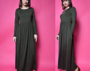 Vintage 90's Olive Green Maxi Dress / Long Sleeve Pleated Long Dress - Size Medium