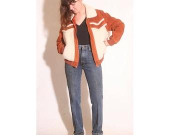 Vintage 1970s Cowhide Split Leather Men's Bomber Jacket size M