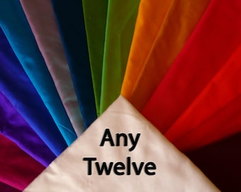 Fine Indian Silk Taffeta ANY TWELVE-Fat quarters.