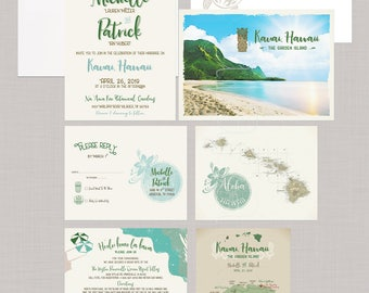 Hawaii Kauai Island Destination wedding Invitation Illustrated wedding map invitation earth tones wedding Deposit Payment