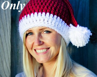 PATTERN ONLY (PDF), Crochet Santa Hat Pattern, (1-10 year sizes), Finished product can be purchased too