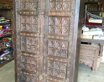 UNIQ 18c Lotus Floral Carved Doors  Antique Wardrobe Armoire Indian Furniture Storage Cabinet NATURAL Teak WOOD Limited Time Free Shipping