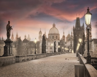 Charles Bridge Photography, Prague Photography, The Charles Bridge, Sepia Color, Red Sky Color, Fine Art Photography, Large Wall Art
