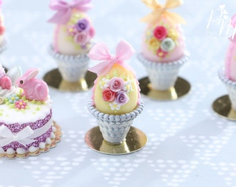 Miniature Food Pastel Candy Easter Egg (E) Decorated with Trio of Handmade Roses, Blossoms, Silk Bow, in Shabby Chic Pot - 12th Scale