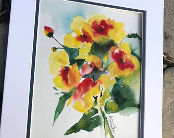 Original Watercolor Flowers, Watercolor floral art, yellow red flowers, wedding bouquet original watercolor painting