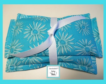 Heat Pad Set, Hot Cold Pack, Flax Seed Eye Pillow, Yoga Relaxation Spa Gift, Garden Gift for Her, Microwave Heat Pad, Daisy Tranquility Sets