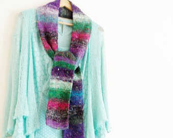 Multicoloured green pink and purple handknit scarf Green knit scarf Purple knit scarf Pink knit scarf  Mens scarf Womens scarf Scarves 642