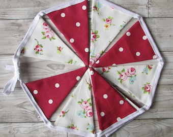 Ivory Rose Bud & Red Dotty Fabric Bunting, Party, Wedding, Fabric, Personalised ,Home Decor, Handmade,Home, Home and Garden, Free Postage