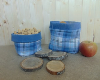 Denim and flannel shirt basket