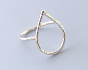 Sterling Silver Raindrop Ring Open Droplet Ring Tear Shaped Ring