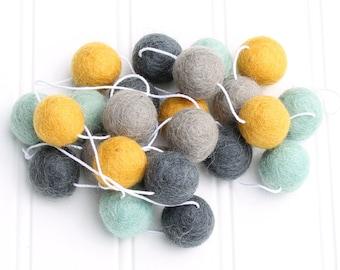 Felt Ball Garland, Pom Pom Garland, Mint and Mustard, Gender Neutral, Nursery Decor, Felt Ball Bunting, Baby Shower Decor, Kids Room Garland
