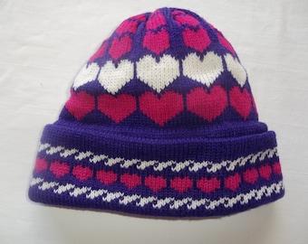 Decreasing Hearts Hat for Girls or Women, Custom Design, Handmade