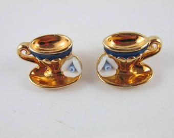 Cup and Saucer Earrings with Blue and White Rose Avon Unused