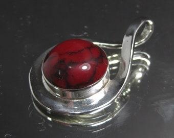 Vintage Sterling Silver Bloodstone Gemstone Pendant
