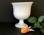 Ribbed White Milk Glass Planter - Pedestal Urn - E O Brody Flower Vase - Compote - Wedding Table Decorations - Farmhouse - Shabby Decor