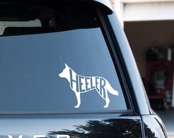 "Australian Cattle Dog / Heeler Vinyl Decal with ""Heeler"" inside"