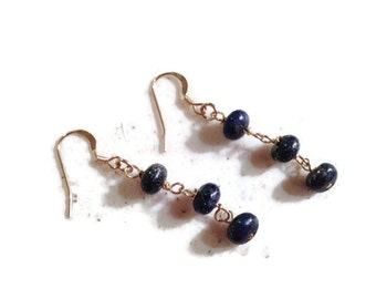 Lapis Earrings - Navy Blue Jewelry - Gold Jewellery - Beaded - Gemstone - Fashion - Chic - September Birthstone