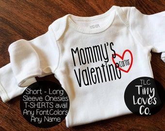Mommys Valentine. Baby First Valentines Day. Daddys Valentines. Valentines Day Outfit. Baby Girl. Baby Boy. baby name outfit.