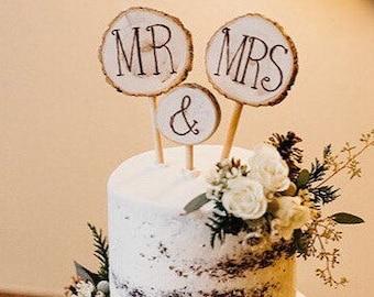 Rustic Wedding Cake Topper Tree Branch Slices Mr & Mrs