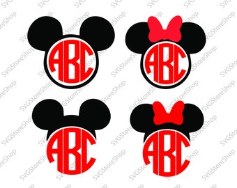 Mickey monogram svg, Minnie monogram svg, Minnie svg, Mickey svg, Disney svg, Disney bundle svg, Bow svg, Disney cricut, Disney monogram svg