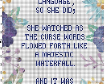 They said watch your language Feminist subversive cross stitch pattern curse words fuck the patriarchy feminism