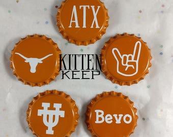 "Ready To Ship | Burnt Orange 1"" Bottle Cap Magnets Set (5) | University of Texas | Texas Longhorns | Austin Texas"