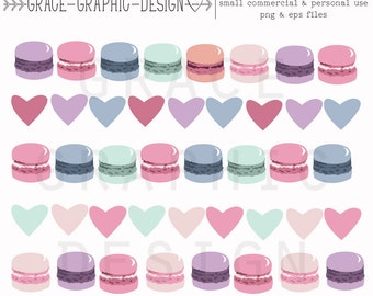 Macaron Digital Borders, Commercial use digital border set, digital download graphics, instant download macaron clipart set, vector