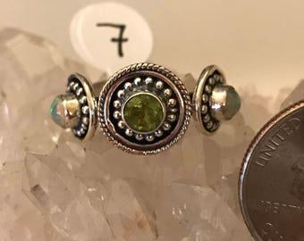 Opal and Peridot Ring, Size 7