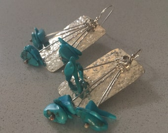 Handmade Turquoise and Silver Earrings