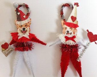 VALENTINE Corgi doggie vintage style CHENILLE ORNAMENTS set of 2 feather tree