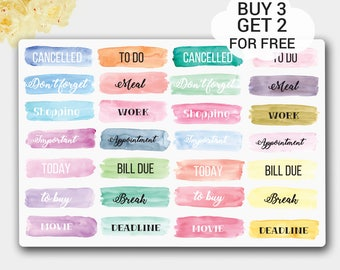 Watercolor Headers Words Stickers, To Do, Work, Cancelled, Meal, Movie, Don't Forget, To buy, Planner Stickers for Erin Condren Life Planner