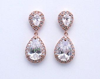 Bethany - Rose Gold CZ Wedding Earrings, Bridal Earrings, Crystal Teardrop Earrings, Cubic Zirconia Earrings, Rhinestone Bridesmaids Gift