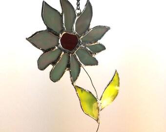 Handcrafted Stained Glass Gray Blue Daisy Flower Suncatcher Sun Catcher