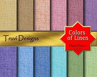 Colors of Linen Digital Papers, Instant Download, Paper Packs, Pattern Prints, Fabric Pattern, Scrapbook Paper